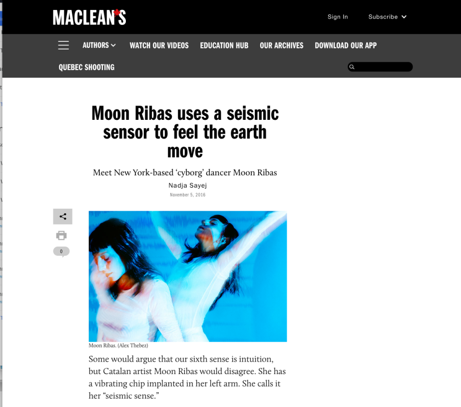 Work: Moon Ribas onMaclean's