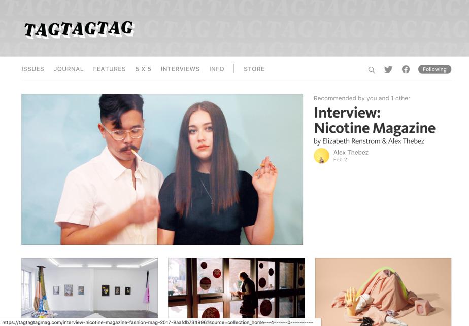 Work: TAGTAGTAG – Nicotine MagazineInterview